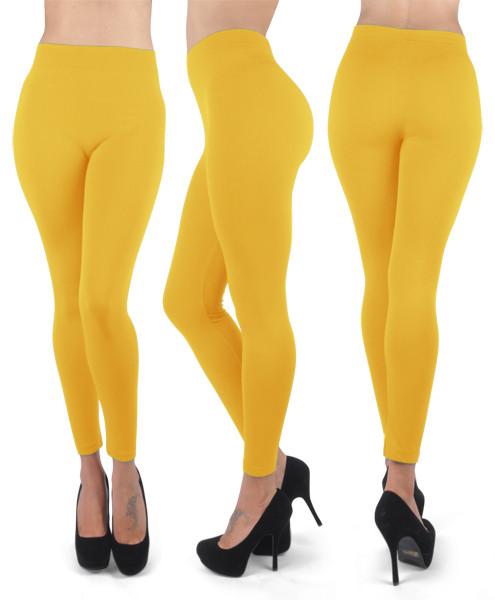 12pc 100% Poly Stretch Leggings Gold L0636