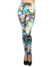12pc Ladies Footless Printed Leggings - Flower Blue L5030