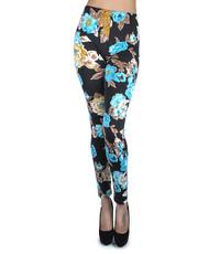 12pc Ladies Footless Printed Leggings - Floral Blue L8829BL