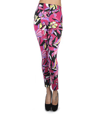 12pc Ladies Footless Printed Leggings - Abstract Flower Fuchsia L8426FU
