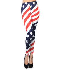 12pc Ladies American Flag Footless Printed Leggings - L801201