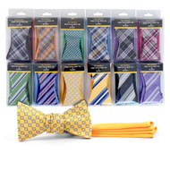 24 Pack Boxed Microfiber Woven Reversible Bow Tie & Hanky Set FRBMP