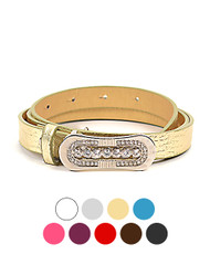 12 pc Pre Pack Rhinestone Snap-Buckle Leather Skinny Belt W2187