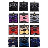 12pc Two Pack Assorted Men's Stripe & Solid Color Pattern Poly Woven Banded Bow Ties