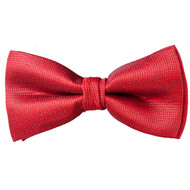 Men's Solid Red Woven Banded Bow Tie