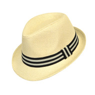 6pc Boy's Spring/Summer Cream Straw Fedora Hats with Black Striped Band