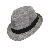 6pc Boy's Spring/Summer Gray Fedora Hats with Black Band