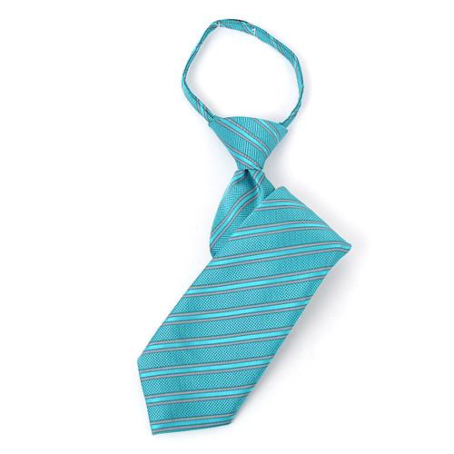 Boy's 14 Striped Teal Zipper Tie