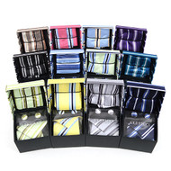 12pc Assorted Pack Boxed Striped Poly Woven Tie, Hanky & Cufflink Set PWFB5000ST