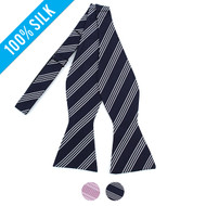 Silk Woven Striped Freestyle Bow Tie FBS3607