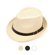 6pcs Two Sizes Spring/Summer Fedora Hat with Leather Trim H1024-6360