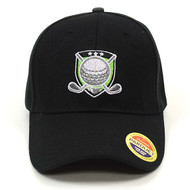 Golf Black Embroidered Baseball Cap (BCC121715GLF)
