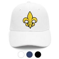 Yellow Fleur-de-lis Black Embroidered Baseball Cap (BCC010516FLB1)