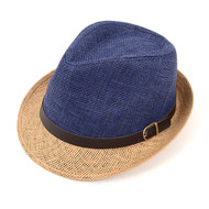 6pcs Two Sizes Spring/Summer Woven Fedora Hat with Leather Trim H8783