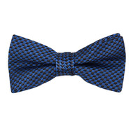 "Boy's 2"" Navy Blue Dotted Polyester Woven Banded Bow Tie FBB1"