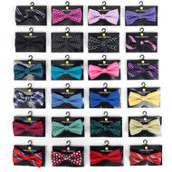 24pc Prepack Assorted Men's Mixed Pattern Poly Woven Banded Bow Ties