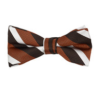 "Boy's 2"" Orange Striped Polyester Woven Banded Bow Tie FBB3"