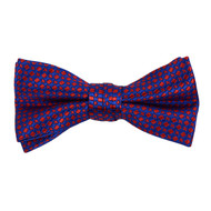"Boy's 2"" Blue & Red Dotted Polyester Woven Banded Bow Tie FBB5"