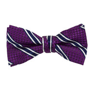"Boy's 2"" Purple Striped Polyester Woven Banded Bow Tie FBB7"
