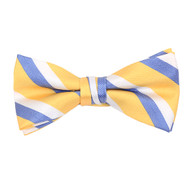 "Boy's 2"" Yellow Striped Polyester Woven Banded Bow Tie FBB09"