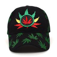 Leaf Pattern Black 3D Embroidered Baseball Cap, Hat EBC10289