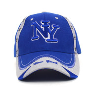New York Blue & Gray 3D Embroidered Baseball Cap, Hat EBC10292