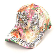 """USA"" Bling Studs Green Flower Baseball Cap CFP9235G"