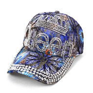 """Queen"" Bling Studs Blue Flower Baseball Cap, Hat CFP9581B"