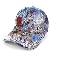 """Love"" Bling Studs Blue Flower Baseball Cap, Hat CFP9584B"