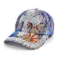 Cross Bling Studs Blue Flower Baseball Cap, Hat CFP10181B