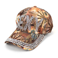 """Sexy"" Bling Studs Tan Flower Baseball Cap, Hat CFP9589T"