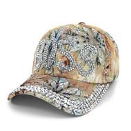 """Boss"" Bling Studs Tan Flower Baseball Cap, Hat CFP9590T"