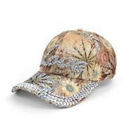 """""""Love"""" Bling Studs Tan Flower Baseball Cap, Hat CFP9584T"""