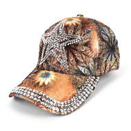 Star Bling Studs Tan Flower Baseball Cap, Hat CFB10185T