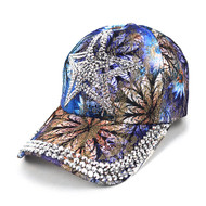 Star Bling Studs Blue Flower Baseball Cap, Hat CFB10185B