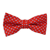 "Boy's 2"" Red Dotted Polyester Woven Banded Bow Tie FBB14"