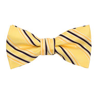 "Boy's 2"" Yellow Striped Polyester Woven Banded Bow Tie FBB15"