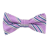 """Boy's 2"""" Purple Striped Polyester Woven Banded Bow Tie FBB23"""