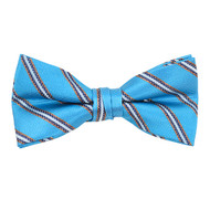 "Boy's 2"" Sky Blue Striped Polyester Woven Banded Bow Tie FBB24"