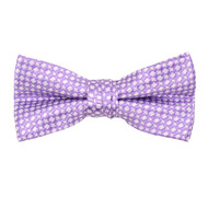 "Boy's 2"" Lavender Dotted Polyester Woven Banded Bow Tie FBB26"