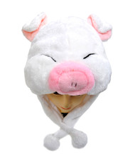 Pre-Pack Animal Plush Hat - White Piggy HATC1060