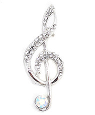 Brooch - Musical Note Silver IMBCBR09191