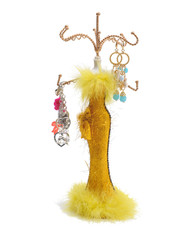 "Yellow Feather Dress 16"" Jewelry Stand JDP1019"