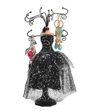 "Black Mid-Night Dress 13"" Jewelry Stand JDP1014"