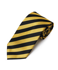 Men's Gold & Black Microfiber Poly Woven College Tie MPWC2412
