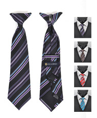 6pc Pre-Pack Boy's Microfiber Woven Clip On Tie MPBC2002