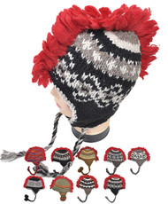 12pc Assorted Mohican Mohawk Wool Hats - MHW1000