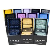 12pc Poly Woven Slim Tie, Hanky & Cufflink Set PWFB2275-NARROW