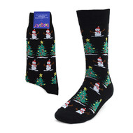 Christmas Tree & Snowman Black Novelty Socks