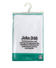 "Cotton Handkerchiefs Embroidered ""John 3:16"" JOHN316-6PK"